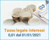 Tasso legale degli interessi: dal 1° gennaio 2021 scende allo 0,01%