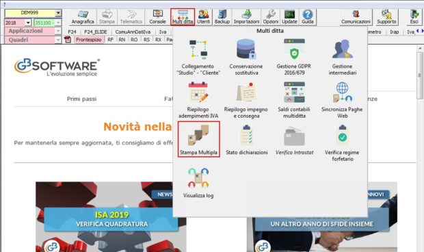 Utility 2019: Stampa multipla - Menu Multiditta